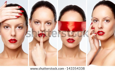 Collage of gorgeous woman with red lips and fingernails looking at camera - stock photo