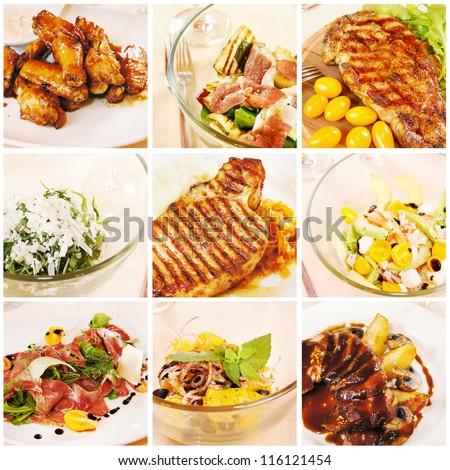 Collage of gourmet food - stock photo