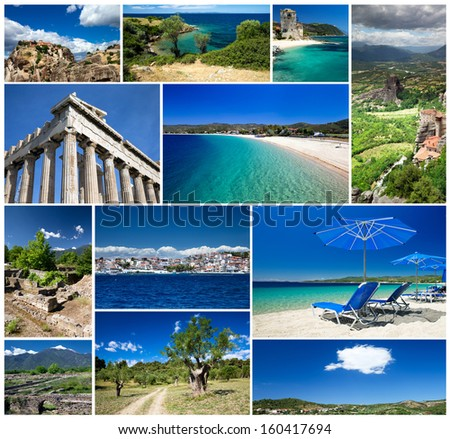 Collage of Greece travel images - stock photo
