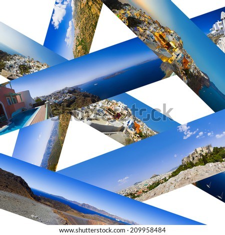 Collage of Greece travel panorama - nature and tourism background (my photos) - stock photo