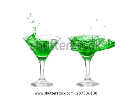 collage of green cocktail with splash isolated on white background