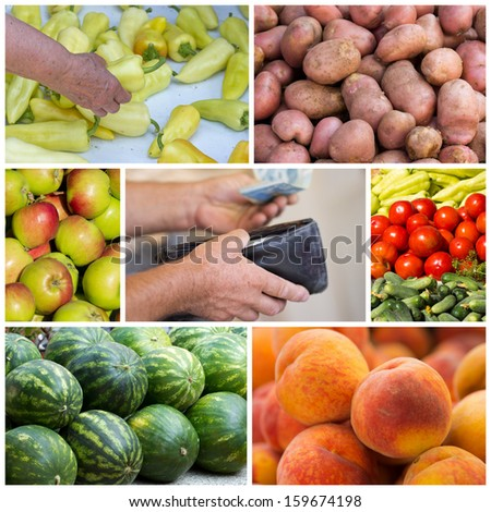 Collage of green market sale - stock photo