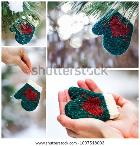 Collage of green mitten with red heart at winter time. Love concept