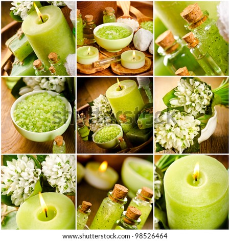 Collage of green spa still life - stock photo