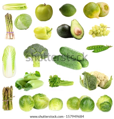 Collage of green vegetables and fruits isolated on white - stock photo