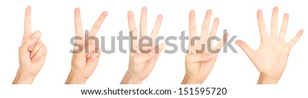 Collage of hands making signs, isolated on white