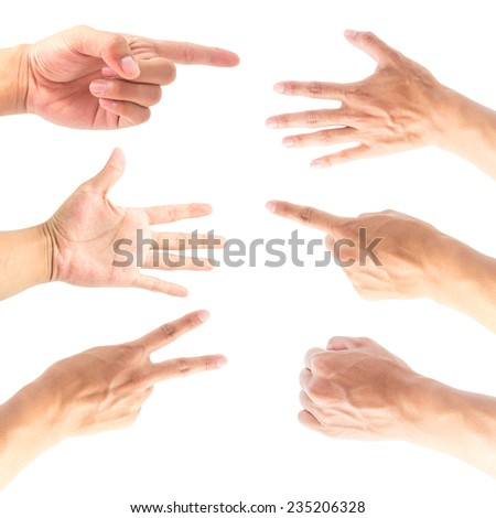 Collage of hands on white backgrounds