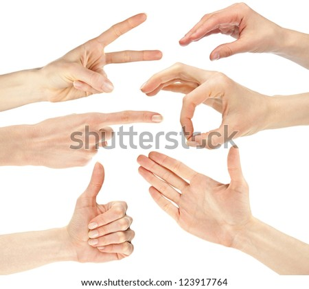 Collage of hands showing different signs/gestures isolated over white background