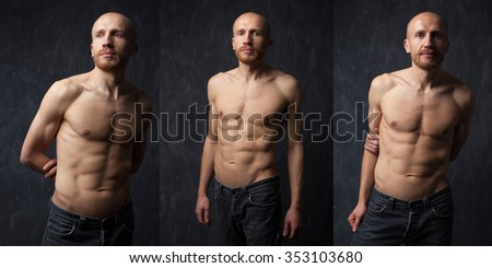 Collage of handsome and  Muscular man with strong press on dark background. Handsome man with strong press. Model posing in studio on dark background. - stock photo