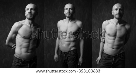 Collage of handsome and  Muscular man with strong press on dark background. Handsome man with strong press. Model posing in studio on dark background. Black and white image