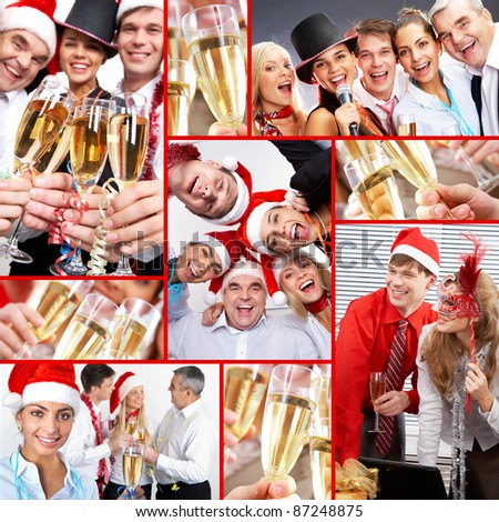 Collage of happy business people celebrating New Year in office