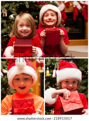 Collage of Happy children with Christmas gift