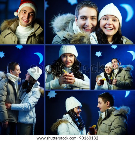 Collage of happy couple on starry winter night - stock photo