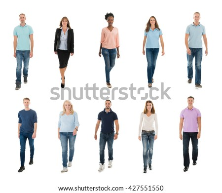 Collage Of Happy Creative People Walking Over White Background - stock photo