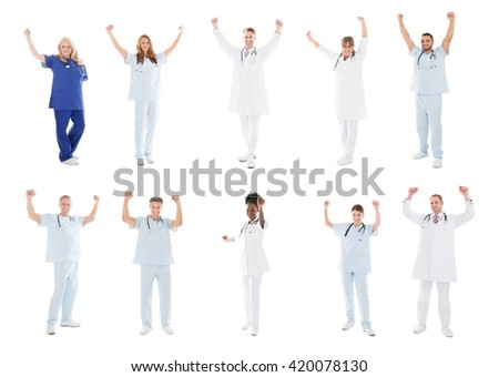 Collage Of Happy Doctors With Medical Workers Raising Arms Against White Background - stock photo