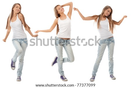 Collage of happy excited young woman with arms extended  in different perspectives. Over white background - stock photo