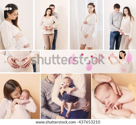 Collage of happy family - stock photo