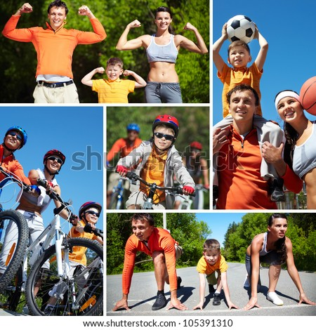 Collage of happy family going in for sports