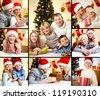 Collage of happy family members on Christmas evening - stock photo