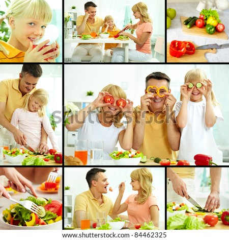 Collage of happy family vegetarians cooking and having breakfast