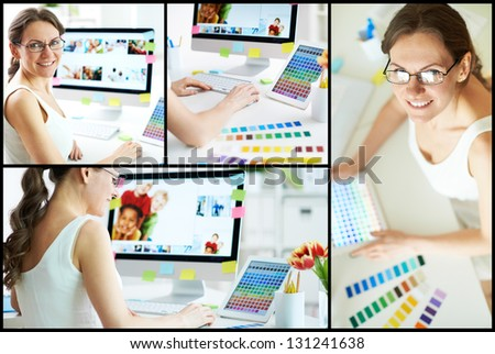 Collage of happy female designer working with colors - stock photo