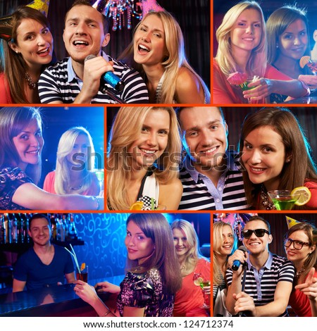 Collage of happy friends cheering up at party - stock photo