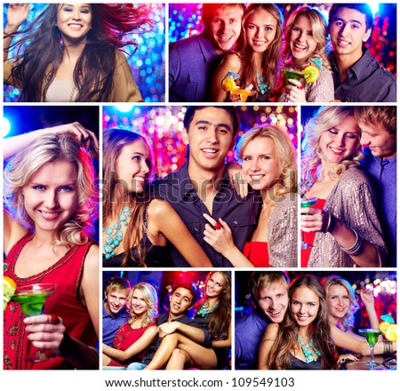 Collage of happy friends having party