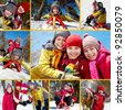 Collage of happy friends on winter vacations - stock photo