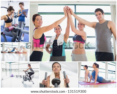 Collage of happy people at the gym working out - stock photo