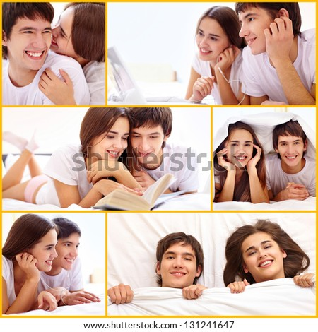 Collage of happy young couple spending time together