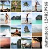 Collage of Happy Young Woman Enjoying on the Beach Thailand - stock photo