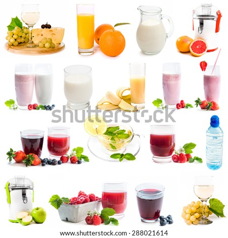 collage of healthy drinks  isolated on a white background - stock photo
