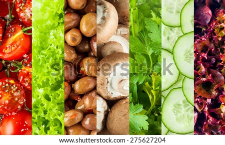 Collage of healthy fresh salad ingredients with rice red tomatoes, frilly green and purple lettuce, olives, mushrooms, cucumber and parsley displayed in vertical stripes