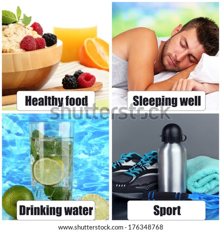 Collage of healthy lifestyle - stock photo