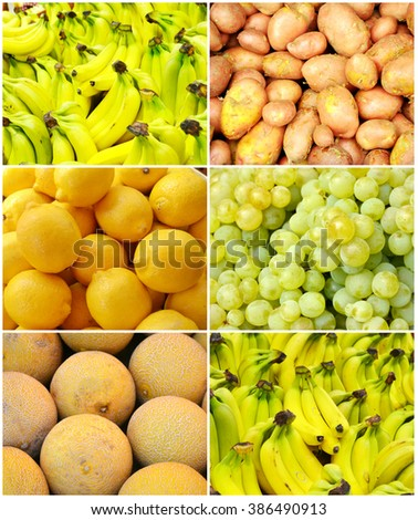 Collage of healthy organic yellow fruit - lemons, apples, bananas