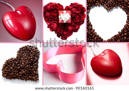 Collage of hearts made up of pink ribbon, rose petals, coffee beans and heart shaped computer mouse - stock photo