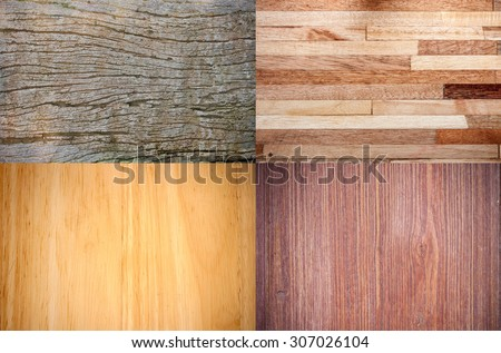 Collage of high-detailed wood textures background - stock photo