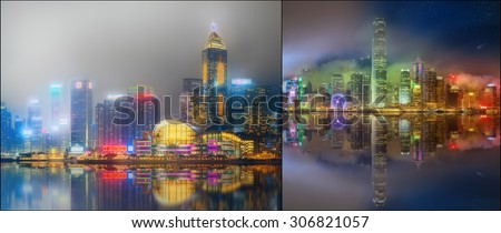 Collage of Hong Kong island, skyline and Financial district, China