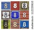 Collage of House Numbers Eight - stock photo