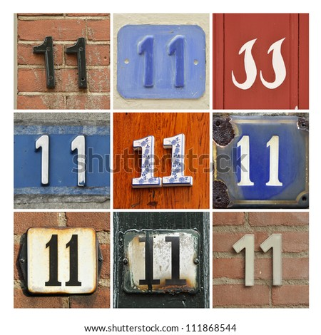 Collage of House Numbers Eleven - stock photo