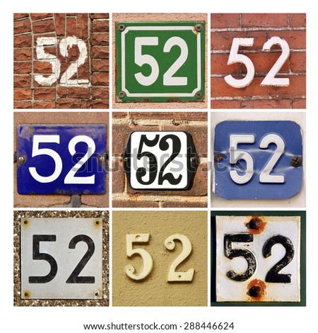 Collage of House Numbers Fifty-two - stock photo