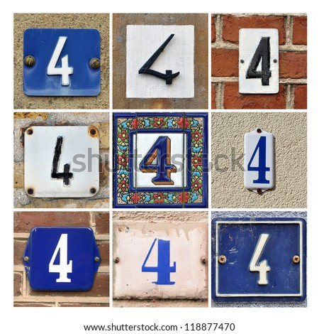 Collage of house numbers Four - stock photo