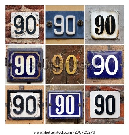 Collage of House Numbers Ninety - stock photo