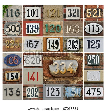 Collage of House numbers 100 plus