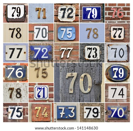 Collage of House numbers 70s - stock photo