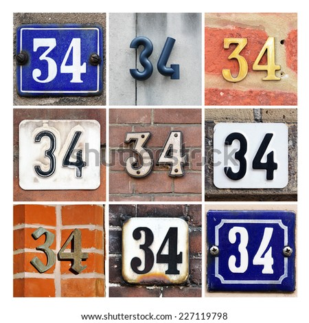 Collage of House Numbers Thirty-four - stock photo