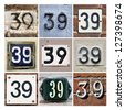 Collage of House Numbers Thirty-nine - stock photo