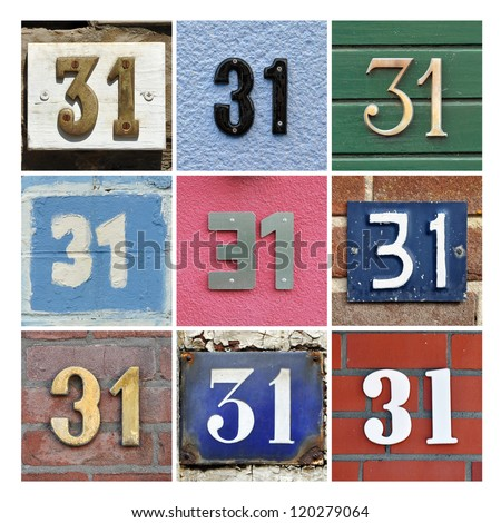 Collage of House Numbers Thirty-one - stock photo