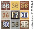 Collage of House Numbers Thirty-six - stock photo