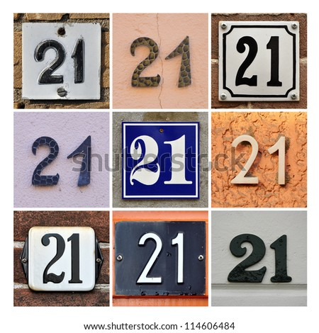 Collage of House Numbers Twenty-one - stock photo